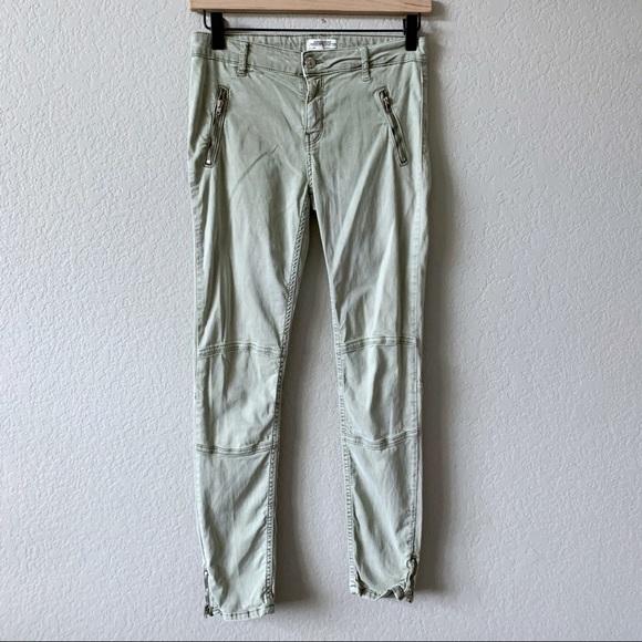 ZARA Light Olive Green Zip Moto Skinny Jeans 4